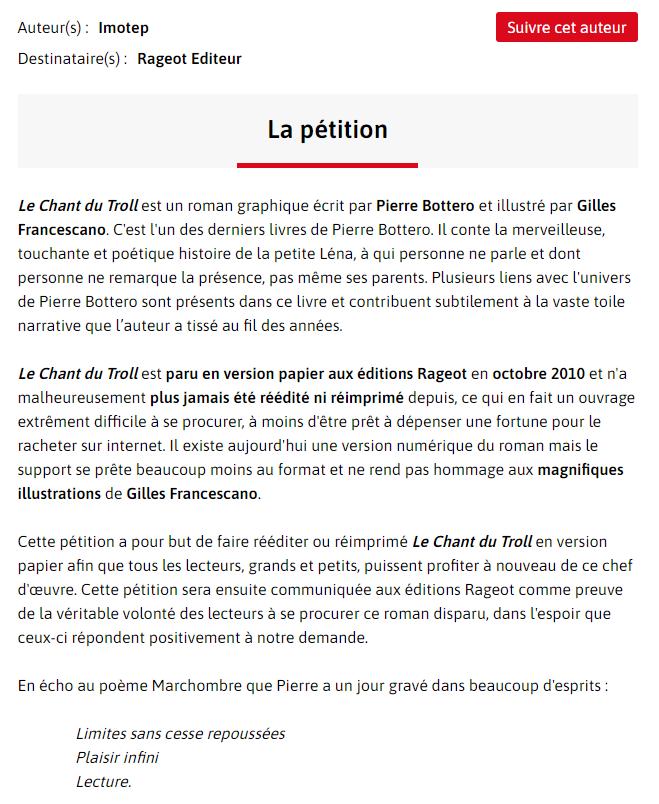 Screenshot du texte de la pétition